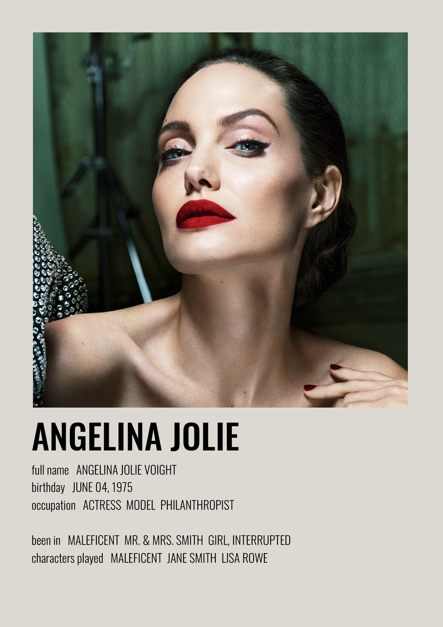 Image about Angelina Jolie in celebrities / alternative minimalist poster by Pia Saint Martin