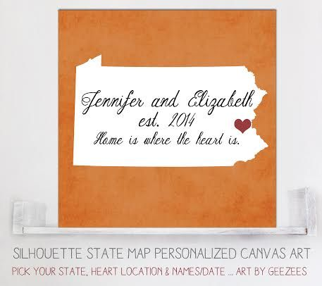 """Custom State Silhouette Map - a sweet keepsake reminder of 'where it all began.' - the story of your love! so in love with this custom canvas! Great for engagements, weddings, anniversary's, housewarming, christmas, bridal showers or """"just because"""""""