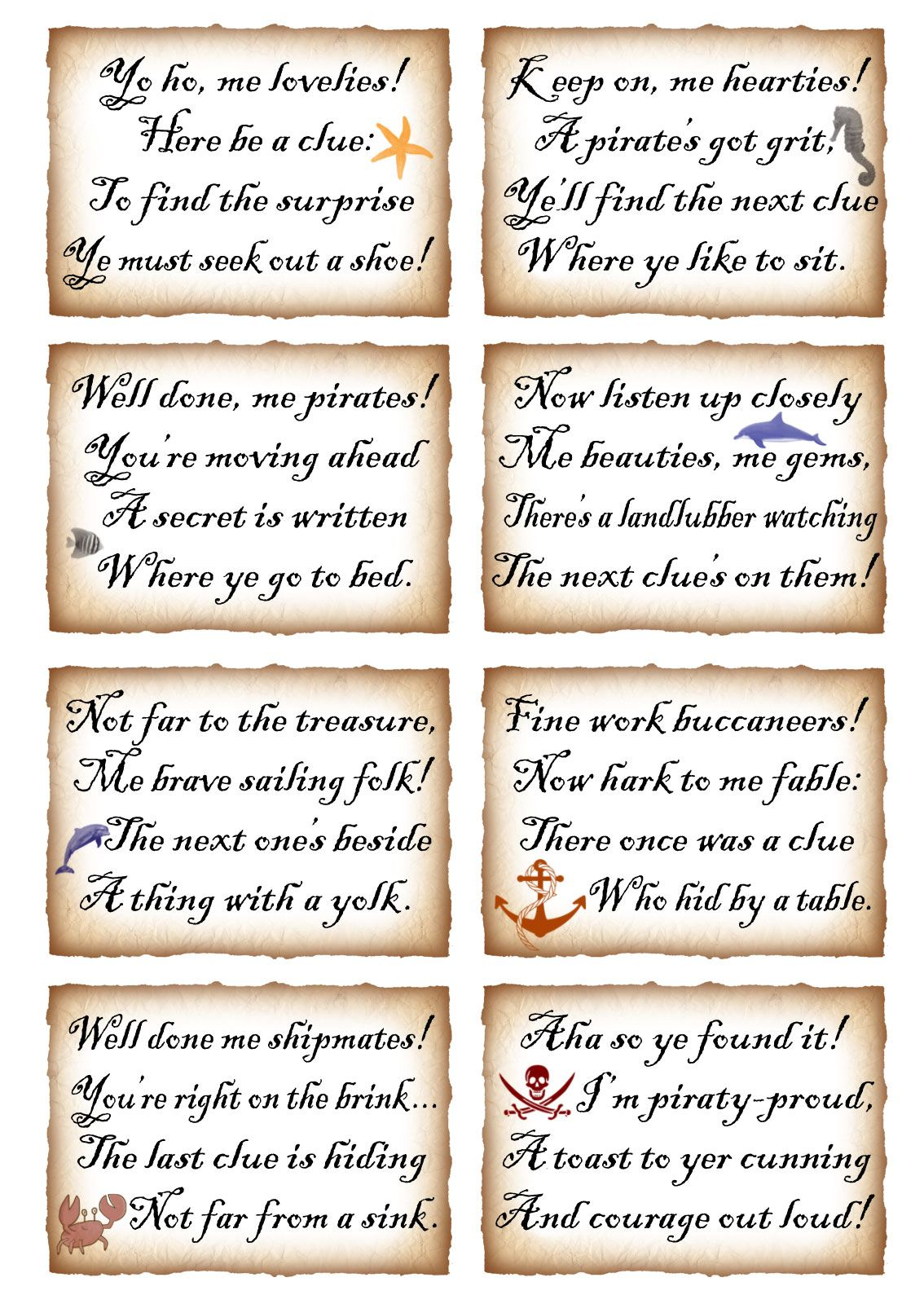 This Week We Ve Put Together Two Sets Of Rhyming Clues For Treasure Hunts One Is A Pirate Theme