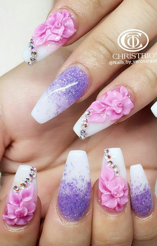 Purple Pink Girly Floral Nails Nails By Verovargas Floral Nails 3d Nails Nail Designs