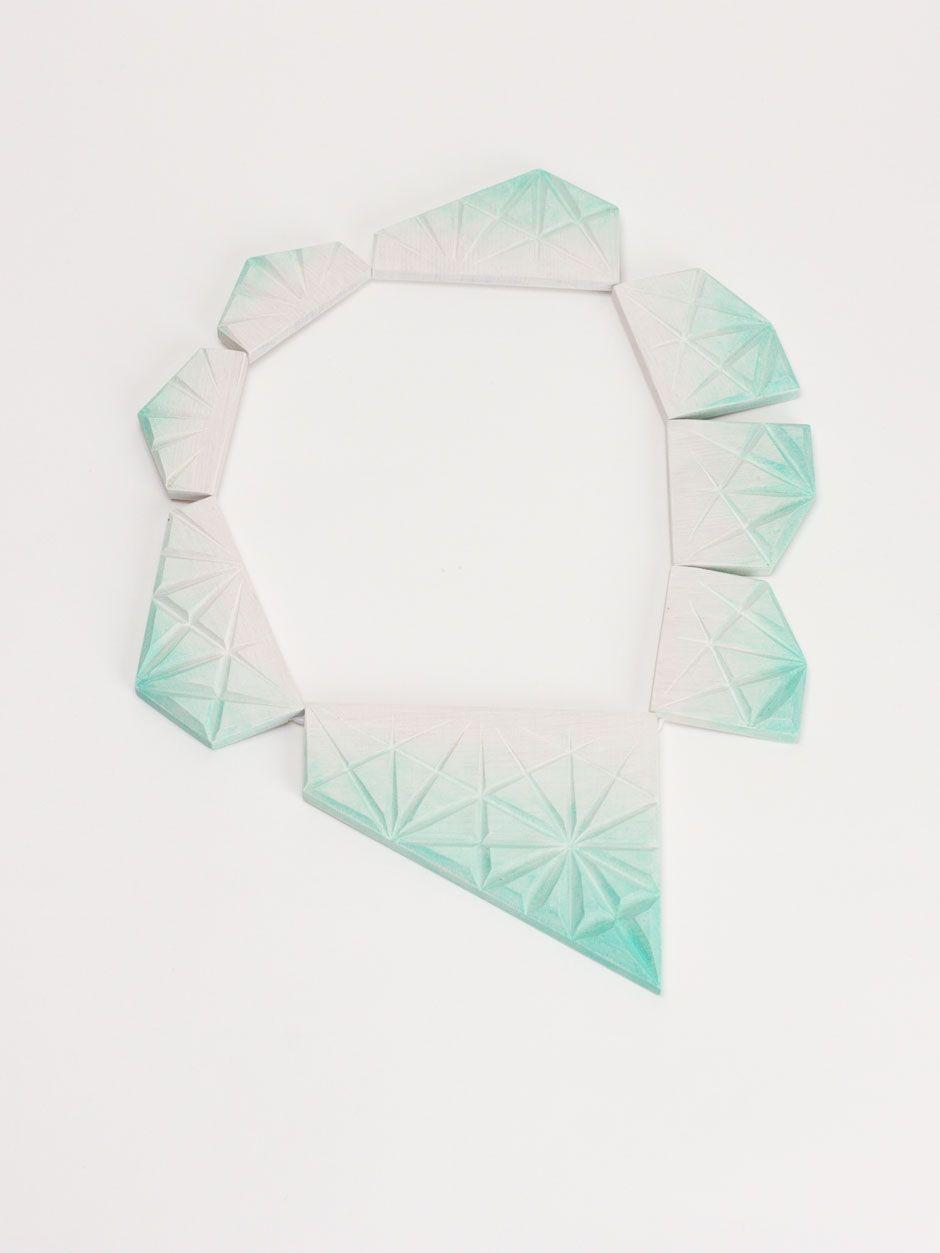 karin maisch - kaleidoscope, the smart.  2013. wood. rubber band. necklace.