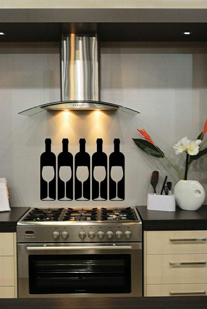Coole Wandtattoos Küche Weingläser Flaschen Schwarz Weiß Kontrast
