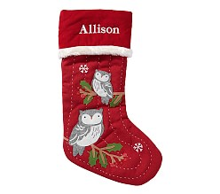 Snow Owls Woodland Stocking Pottery Barn Christmas