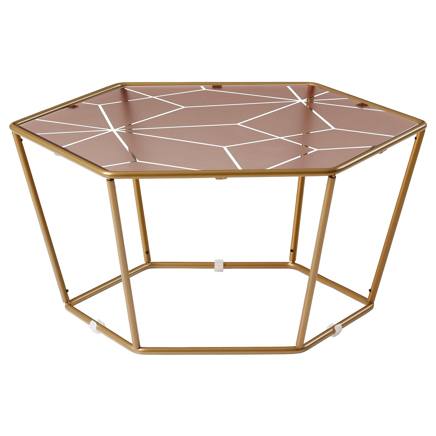 Ikea Ljuv Coffee Table Hexagonal Gold Colour Pink The Table Tops In Tempered Glass Are Stain Resistan Hexagon Coffee Table Ikea Coffee Table Coffee Table [ 1400 x 1400 Pixel ]