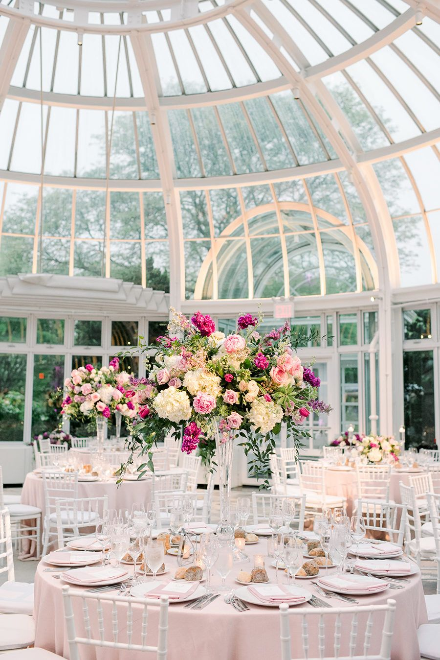Garden wedding reception decor  The Palm House at Brooklyn Botanic Garden Wedding That Barely Beat