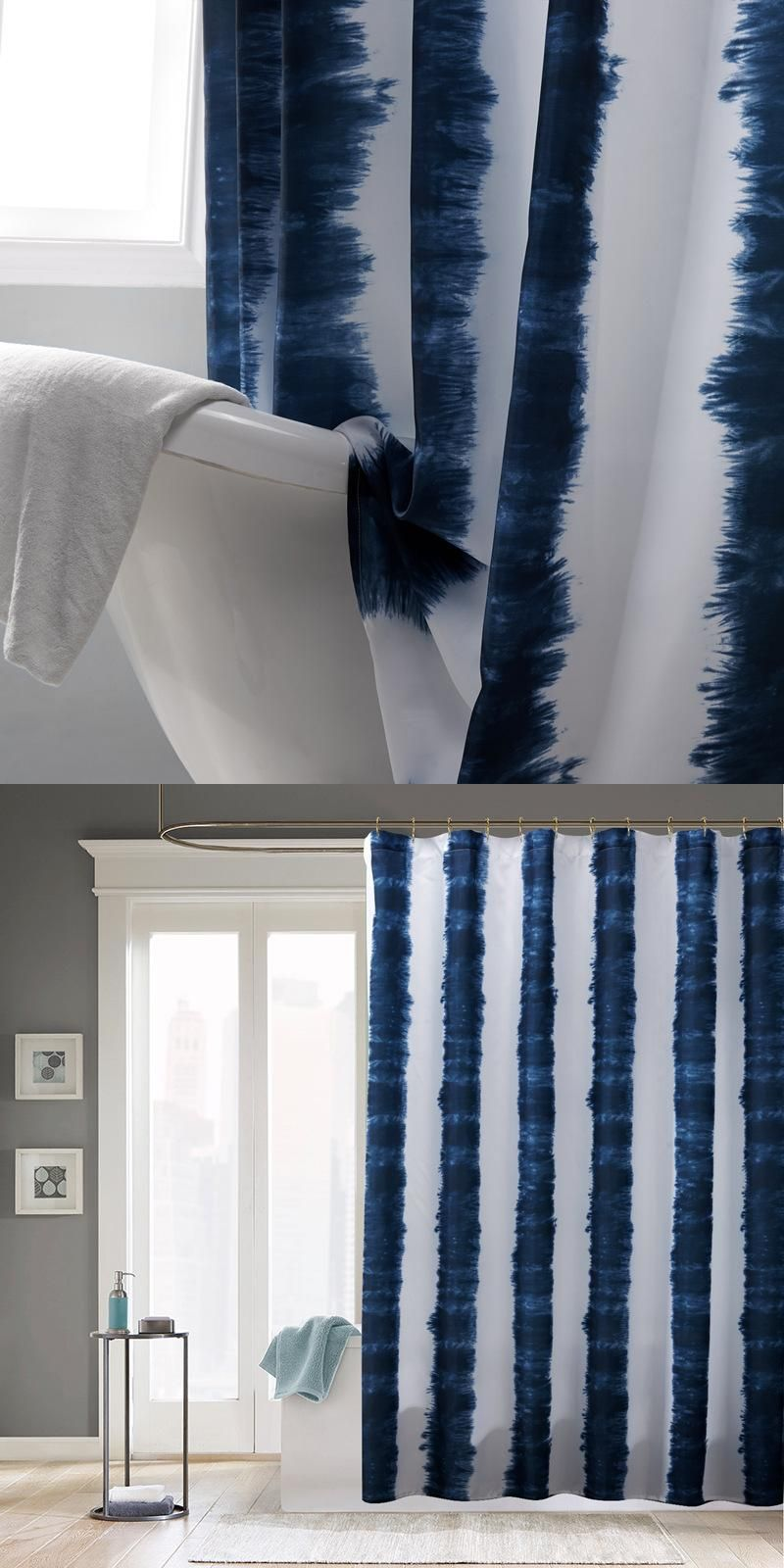 New Waterproof Fabric Shower Curtains Blue White Stripe Printed ...