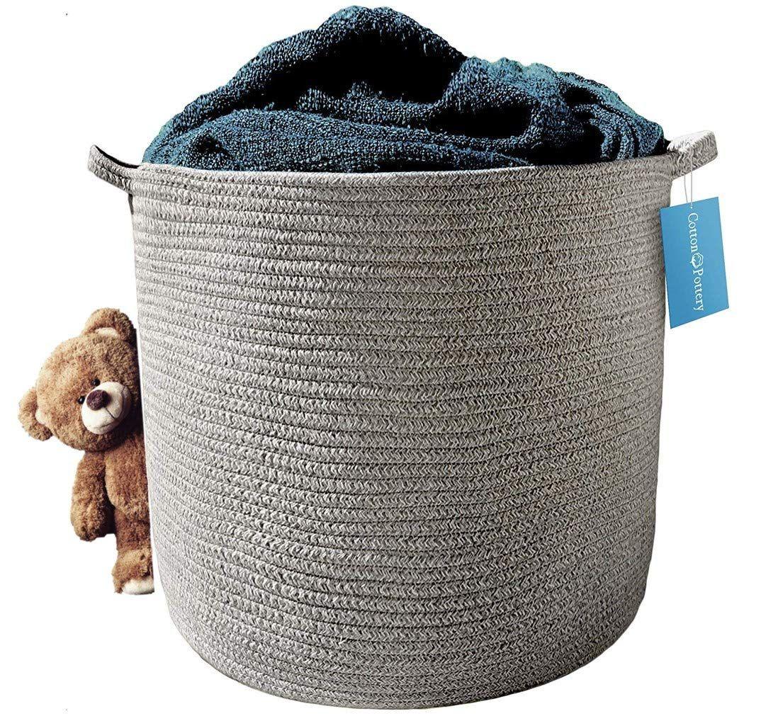 Amazon Com Cotton Rope Storage Basket Heather Gray Blanket