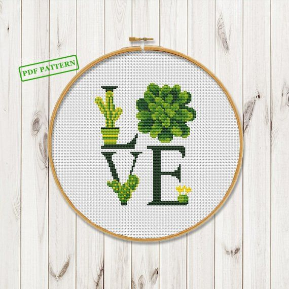 #Crossstitch #crossstitchpattern #succukent Succulent Cactus Cross Stitch Modern Pattern Love Flower Plants Cross Stitch Easy Cactus Cross Stitch Pattern PDF Instant Download #Love symbols #cactusplant