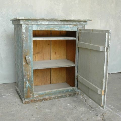 ♕ small 19th c. Painted Wall Cabinet