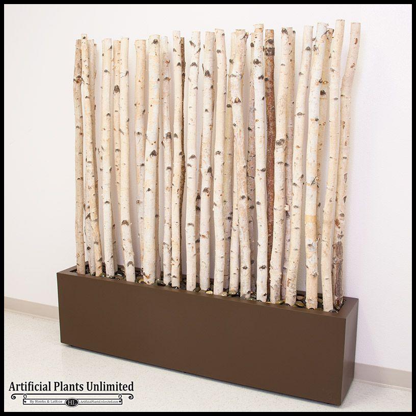 5 L X 6 H Birch Pole Screen In Modern Fiberglass Planter