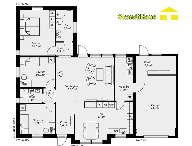 Hauspläne mit garage  Schwedenhaus SkandiHaus 1-geschossig 110 Grundriss | Hausideen ...