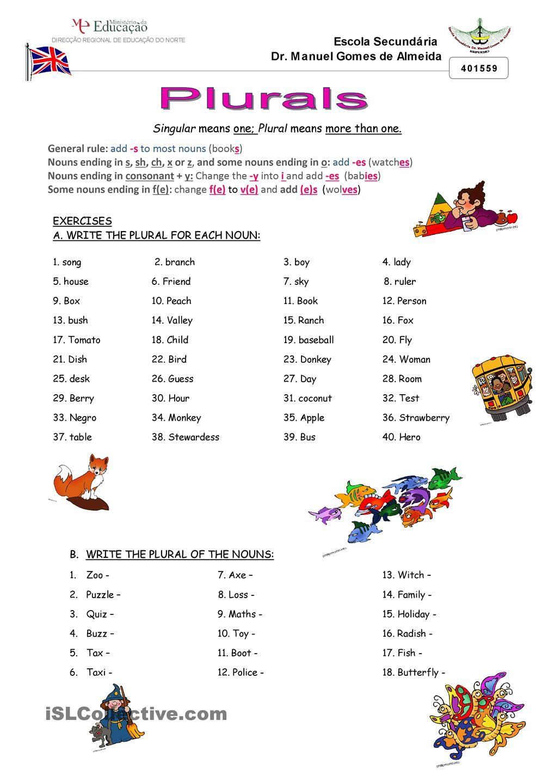 Plurals | ESL worksheets of the day | Pinterest | Englisch und Kind