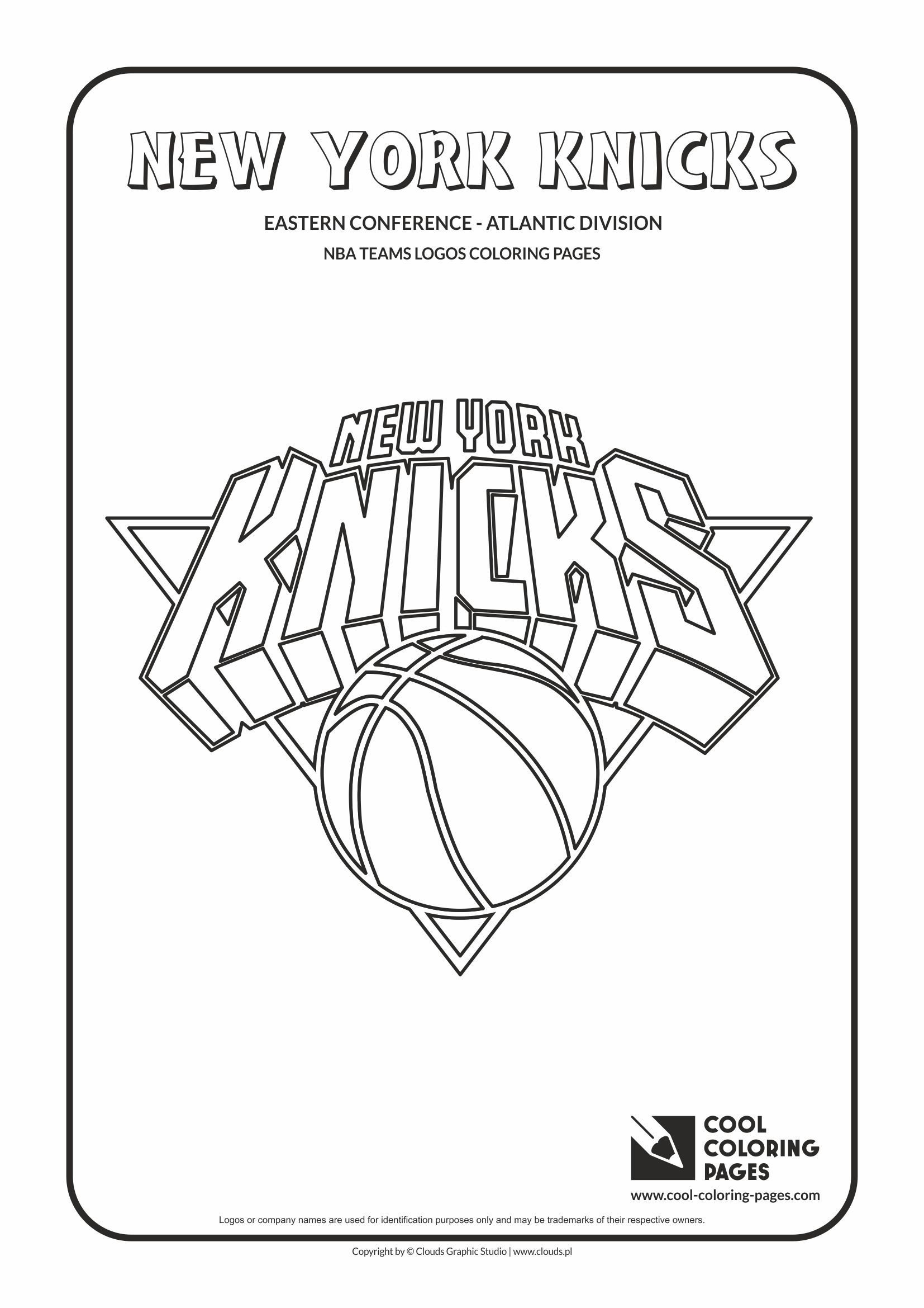 New York Knicks Nba Basketball Teams Logos Coloring Pages Cool