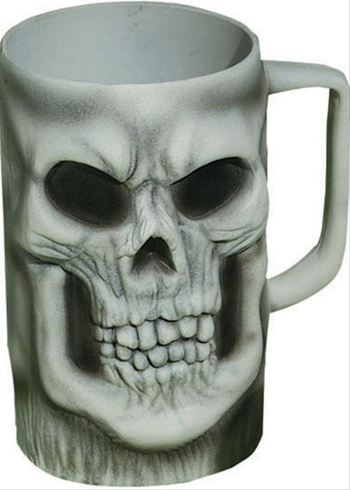 Seasonal Party Supplies -- Seasonal - Halloween Decor -- Tableware -- Skull Mug - White Plastic Beer Mugs