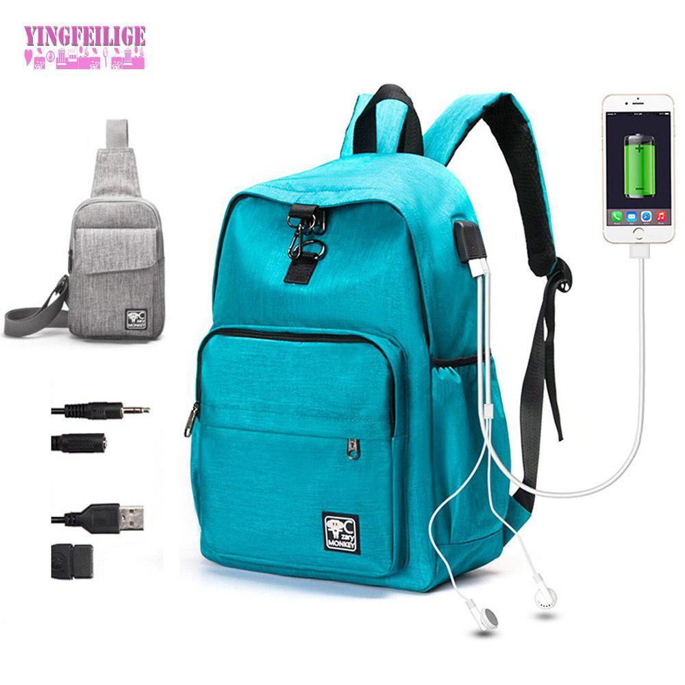 f54b392aaba Women USB Port Backpack With laptop Waterproof Men Male Set College Book  Bags Travel Women Backpack High School Bags For Boys. Yesterday s price  US   23.67 ...