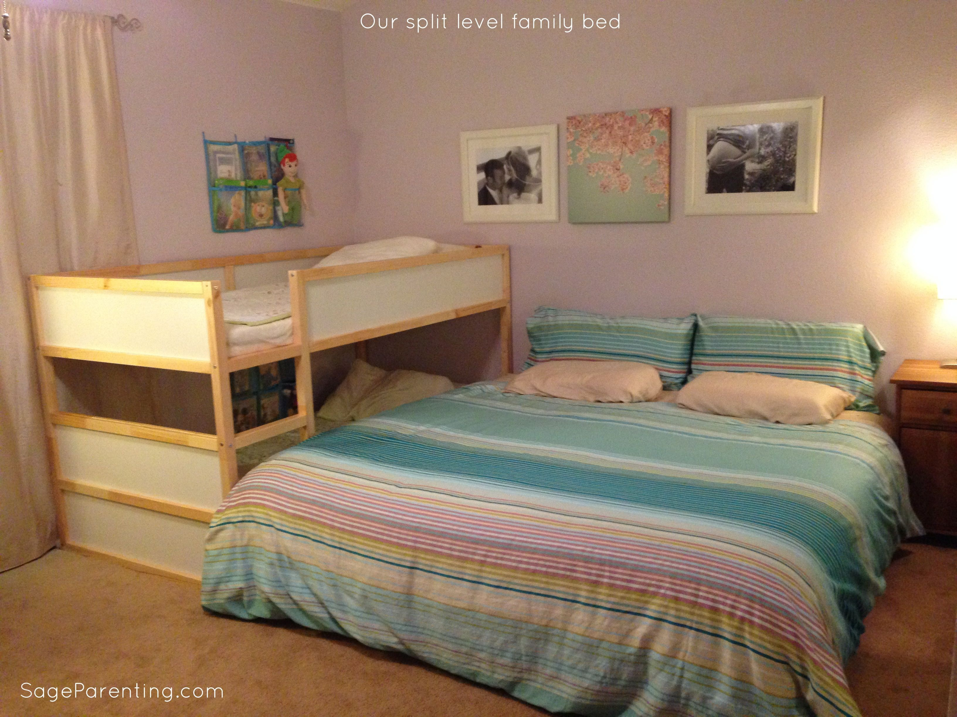 Our split level family bed cosleeping co sleeping for Split bedroom