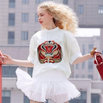 Elf Sack Women's Summer White Shirt Emboridery High Collar Lantern Sleeve Cotton Blouse | elfsack