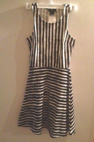 H&M sleeveless STRIPED PEPLUM SKIRT DRESS