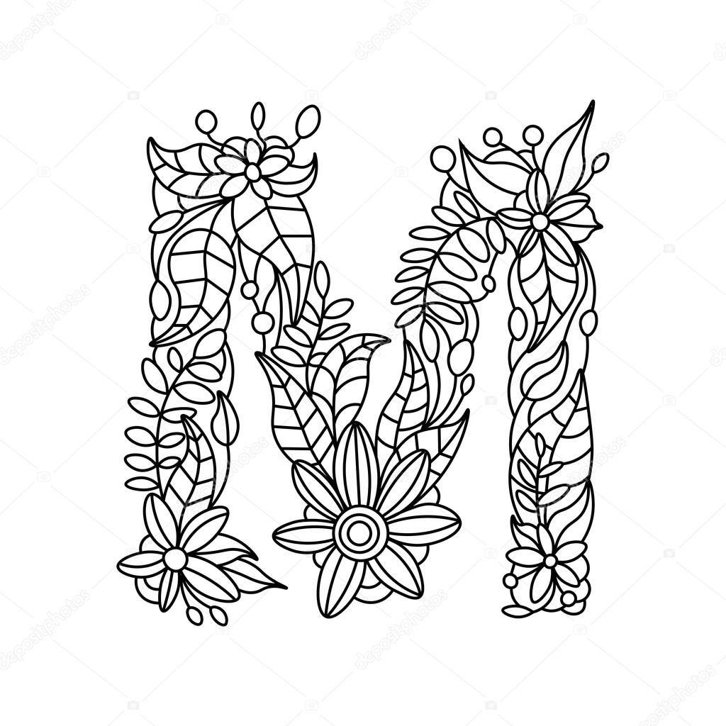 Alfabet Kwiatowy List Kolorowanka Dla Doroslych Wektorowych Ilustracji Styl Zentangle Kwiatowy Czcionki Czarno Biale Linie Wzor Ko Nel 2020 Mandala Immagini Disegni