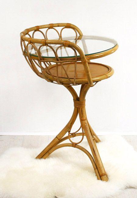 Desserte Coiffeuse Annees 50 En Rotin Bamboo Furniture Rattan Furniture Vintage Furniture