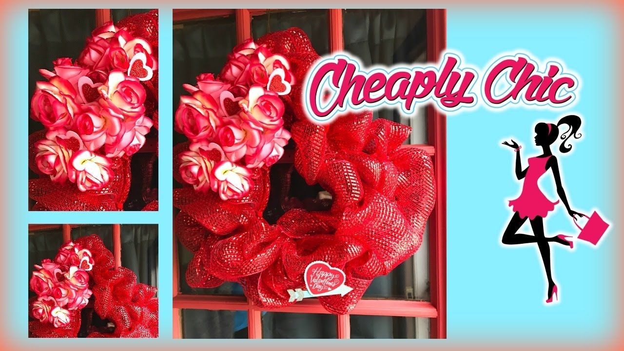 Dollar Tree Diy Valentine Mesh Wreath Tutorial Walk Through