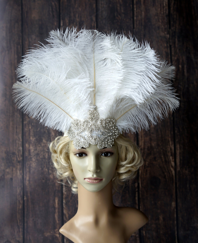 Gold 1920s Gatsby Headpiece bridal wedding headpiece flapper headband flapper dress gatsby dress feather headpiece Bachelorette Hen party
