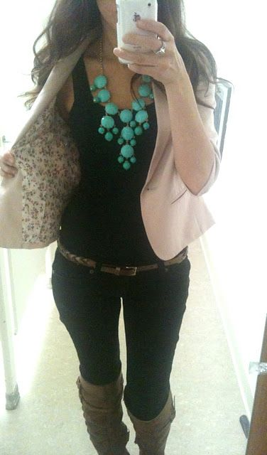 beige blazer, black top, skinnies, knee highs and statement necklace