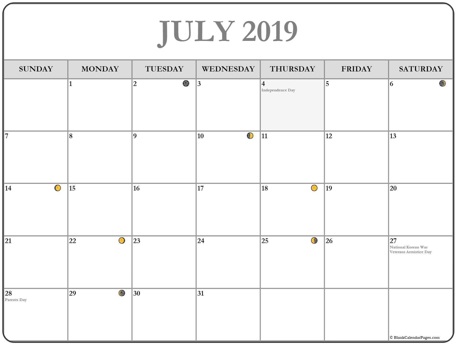 Get Printable Moon Calendar July