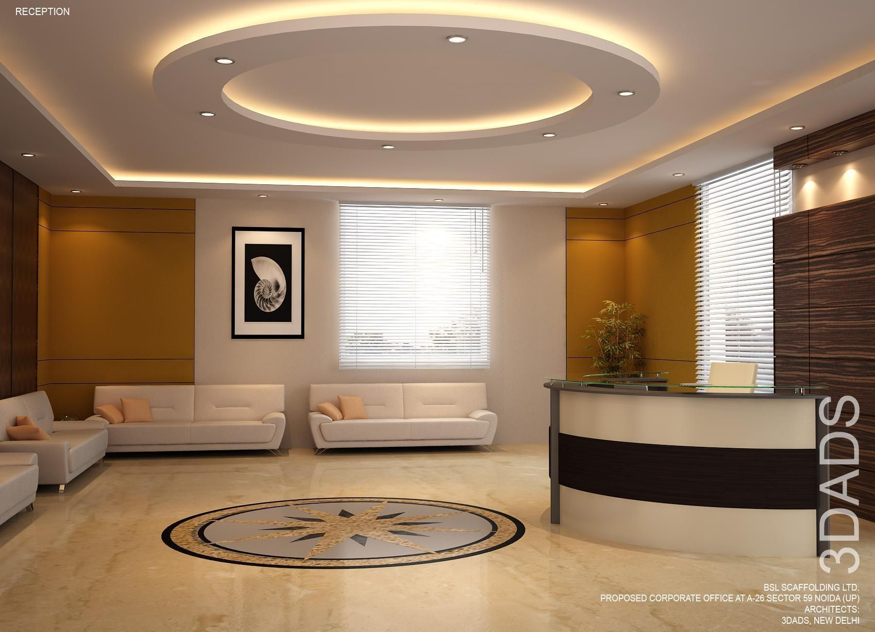 office reception interior. Modern Office Reception Interior Design By 3DA: Best Designers In New Delhi, Gurgaon (Gurugram), NOIDA, India.