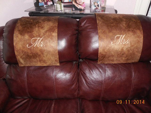 Recliner Headrest Covers Machine Embroidered On Two Tone Leather Look  Material. Www.StitchnArtbyMichelle.