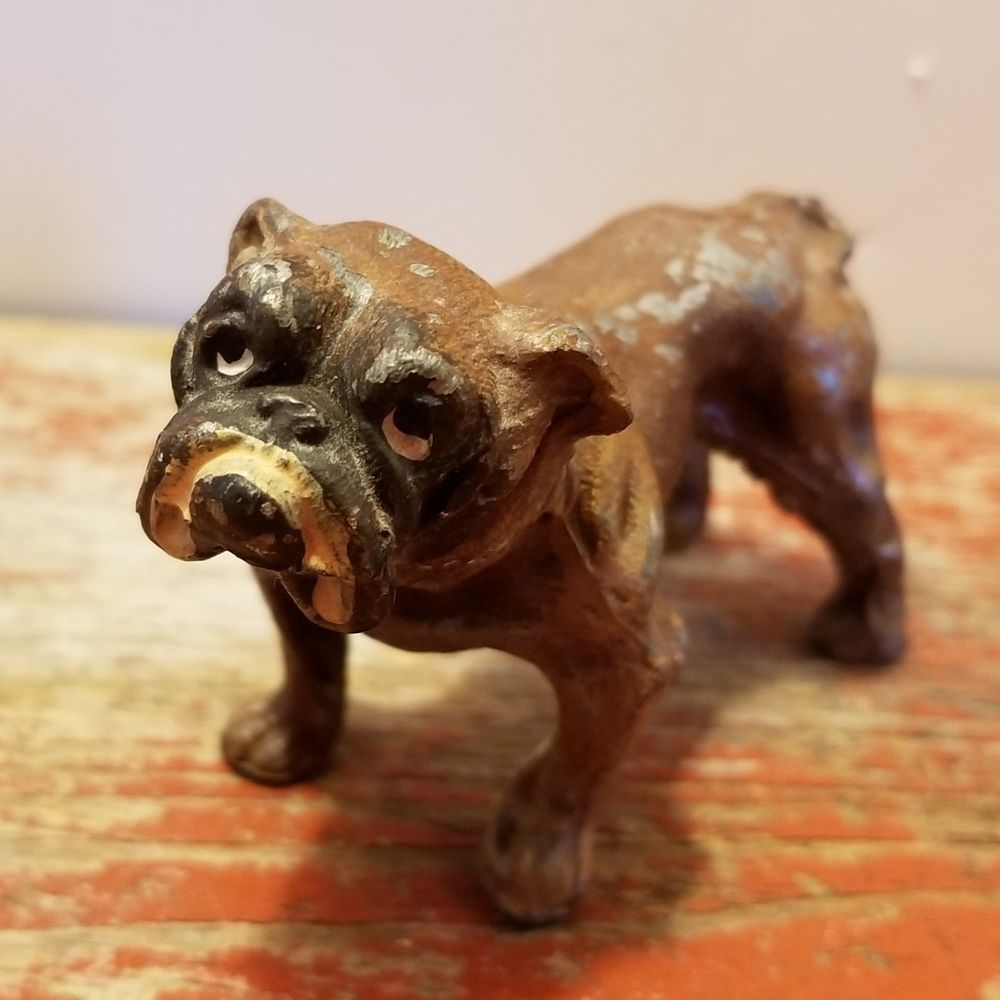 Antique Miniature Rare Vintage Lead Toy English Bulldog Made In