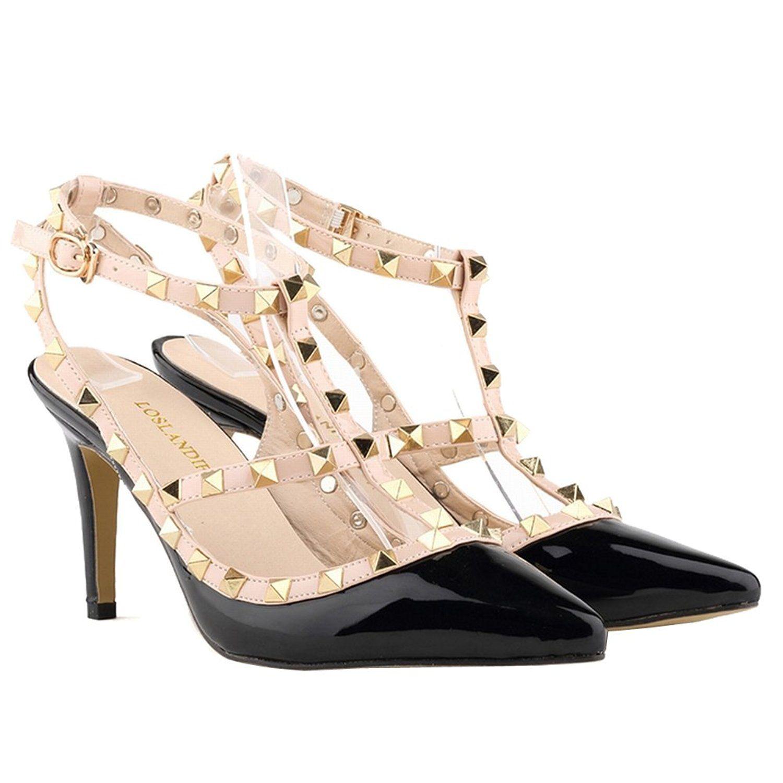 ebe7d79927d3 Loslandifen Ladies High Heels Party Wedding Count Pump Shoes