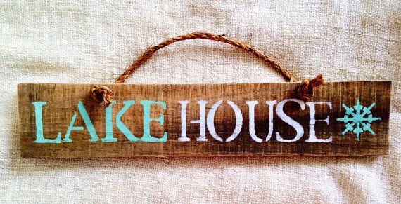Lake House reclaimed pallet wood sign with rope handle | Sea City. #seacity #beachsigns