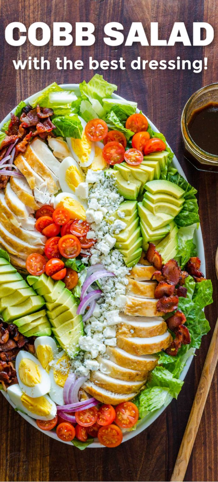 Cobb Salad with the Best Dressing (VIDEO) - NatashasKitchen.com