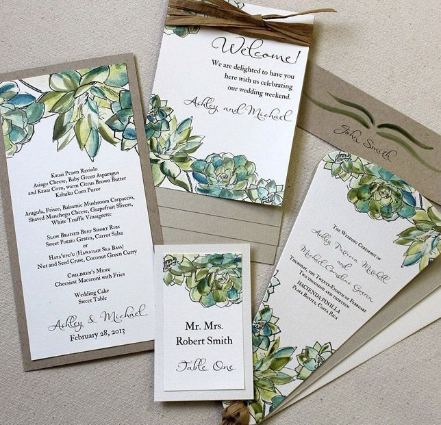 Succulent wedding invitations and get inspired to create your own