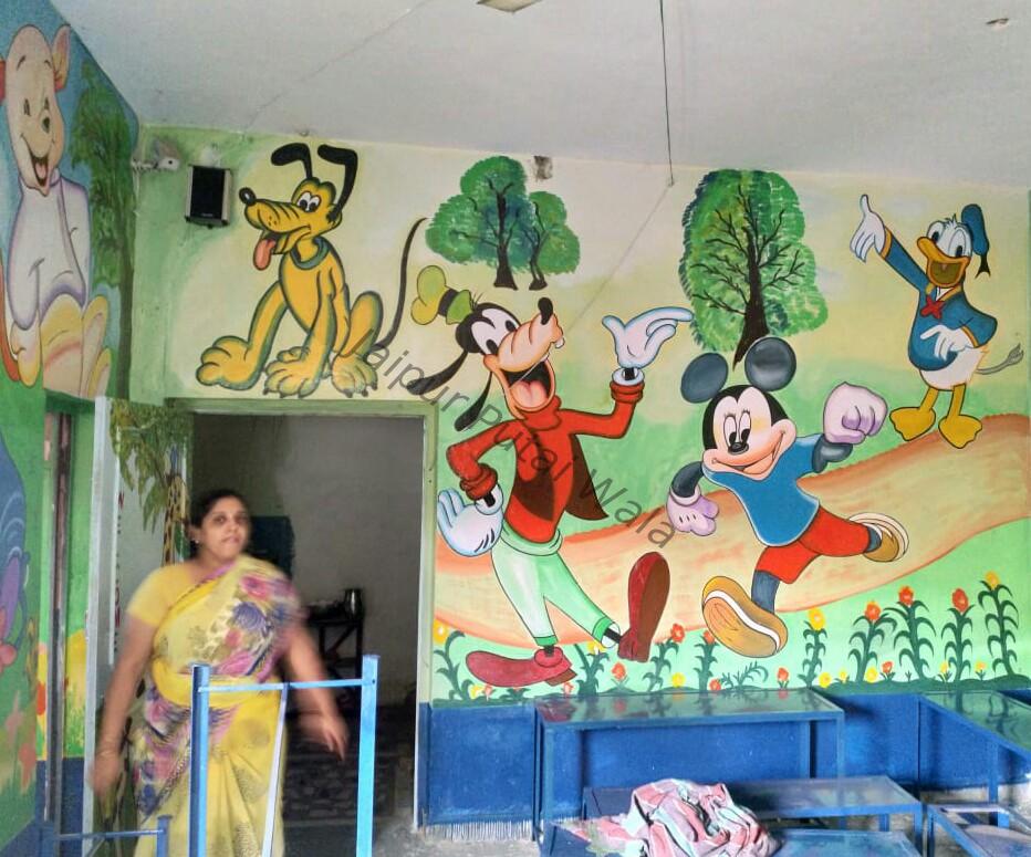 School Classroom Jungle Theme Wall Painting Primary School Wall
