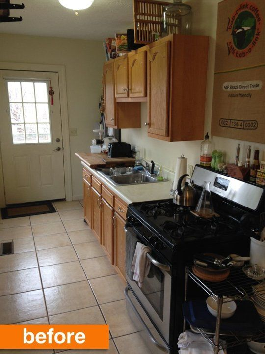 Before Amp After A Narrow Galley Kitchen Gets An Urban Update Cheap Kitchen Remodel Kitchen