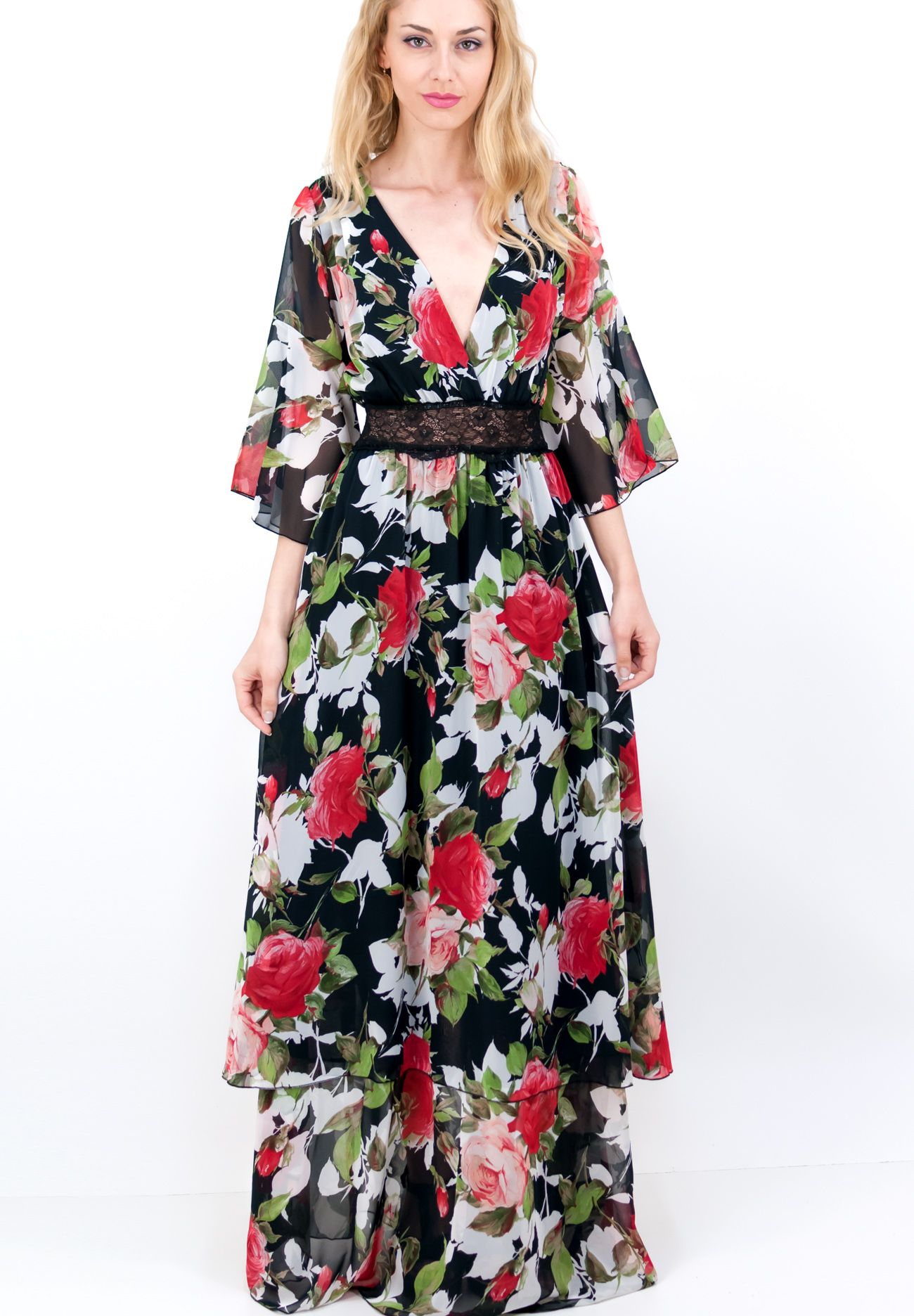 b4ab1024cb90 Μακρύ εμπριμέ φόρεμα με βολάν και δαντέλα στη μέση. - ΦΟΡΕΜΑΤΑ - ΕΝΔΥΜΑΤΑ     ZicZac