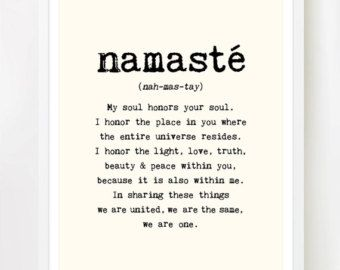 Namaste - Print. 8x10 inches on A4. Inspiring spiritual quote typography art poster print.
