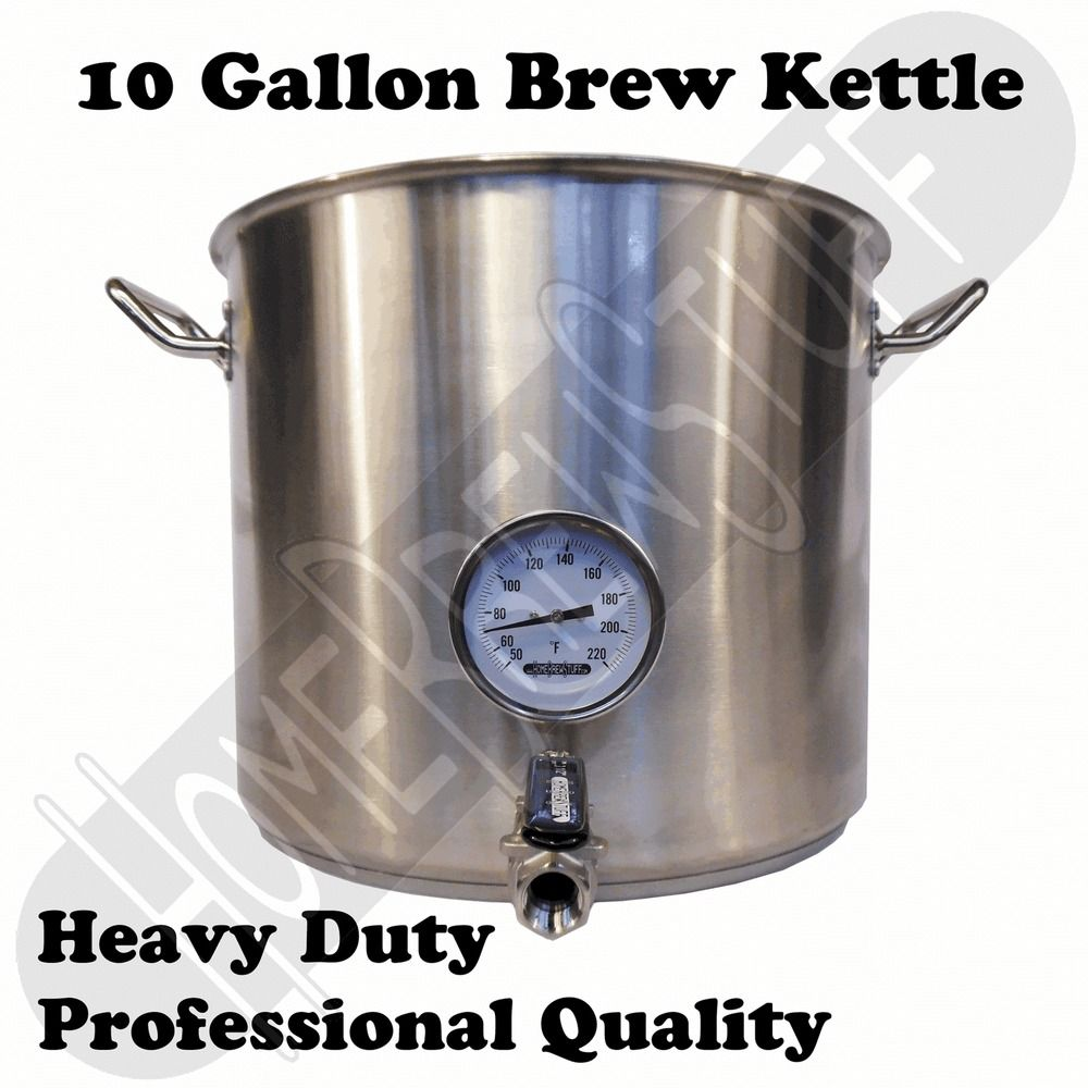 10 Gallon 40 Qt Stainless Steel Home Beer Brewing Kettle W Valve Thermometer Steel House Kettle Beer Brewing