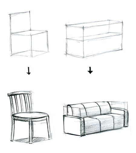 Couch Drawing draw a 3d box then draw the couch/chair in the 3d box | []::art