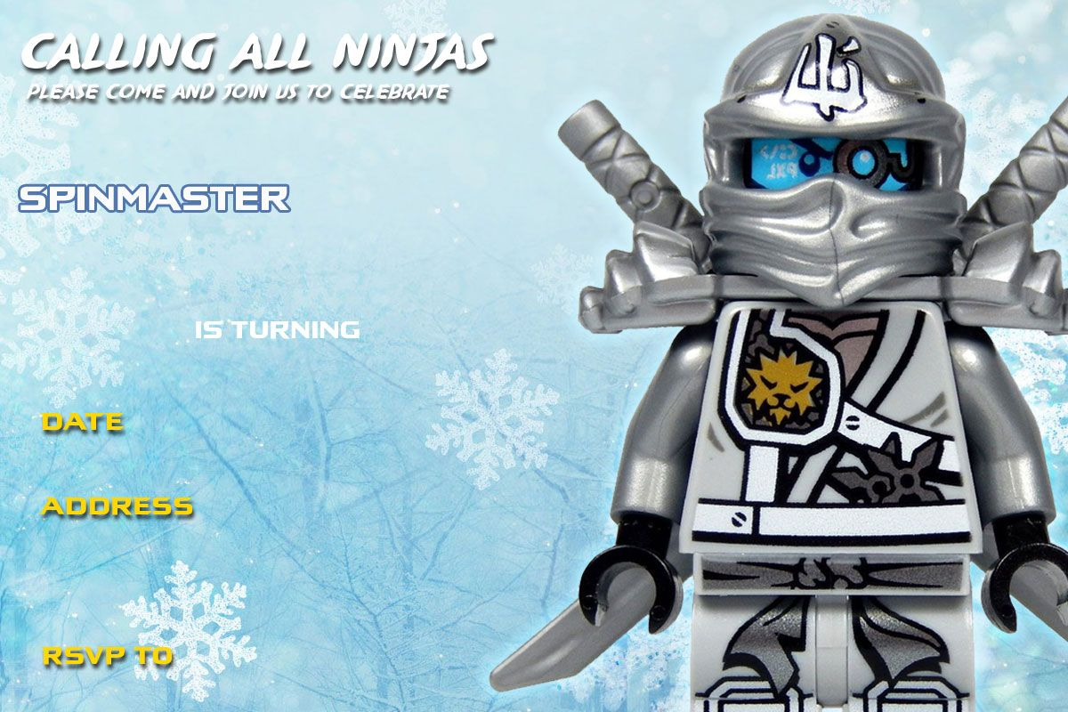 Free Printable Kids Birthday Invitations ~ Free printable lego ninjago zane titanium birthday invitation