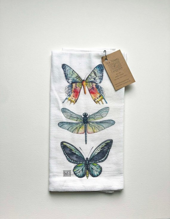 Butterfly And Dragonfly Tea Towel Watercolor Flour Sack Printed
