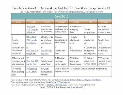 June Declutter Calendar 15 Minute Daily Missions For Month Declutter - daily calendar printable