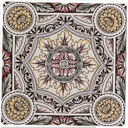Decorative Wall Tile Original Style Tiles  Symmetrical Floral Pattern Single Tile On