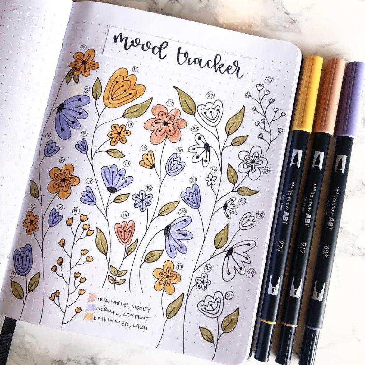 Bullet Journal Flower Mood Tracker   March bullet journal, Bullet ...