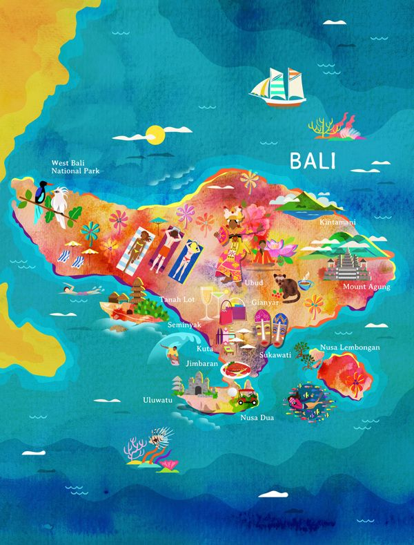 Bali map: watercolour painting for Garuda Airways by New York artist ...