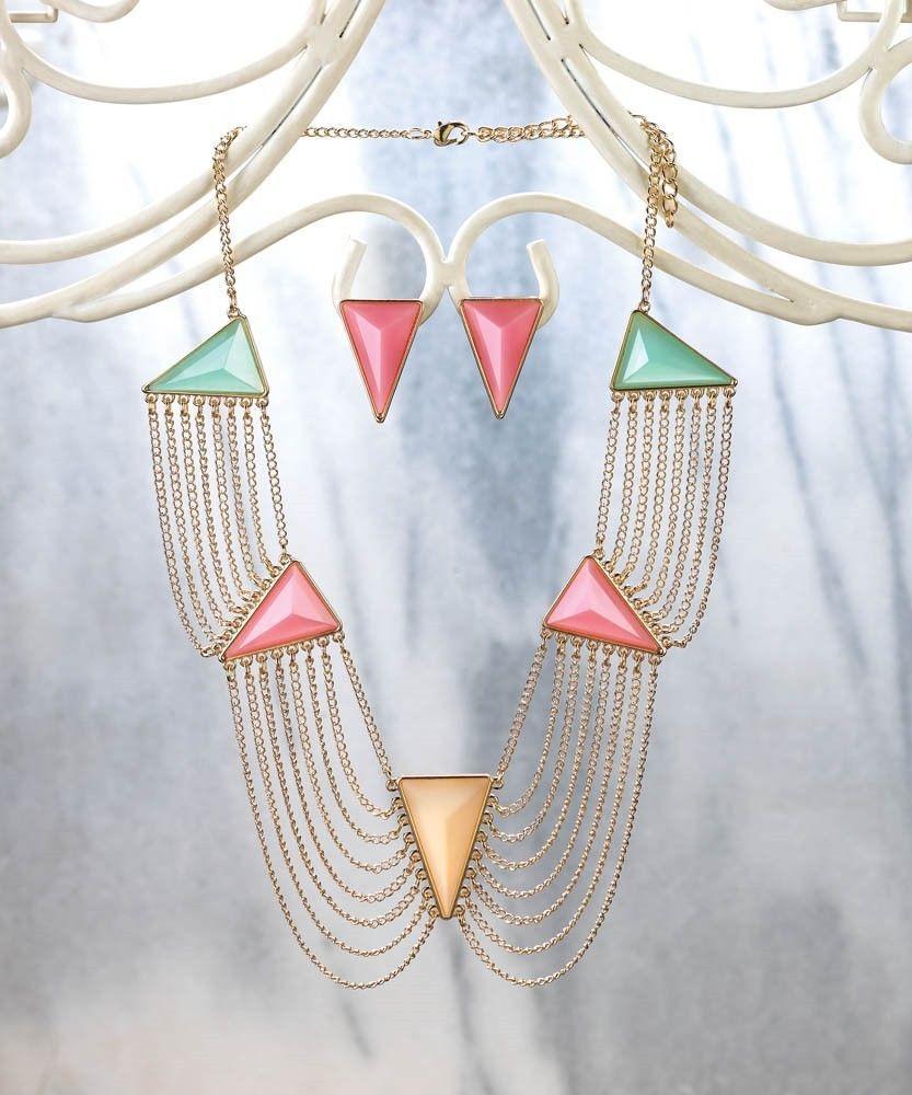 Modern art deco necklace u earring jewelry set new