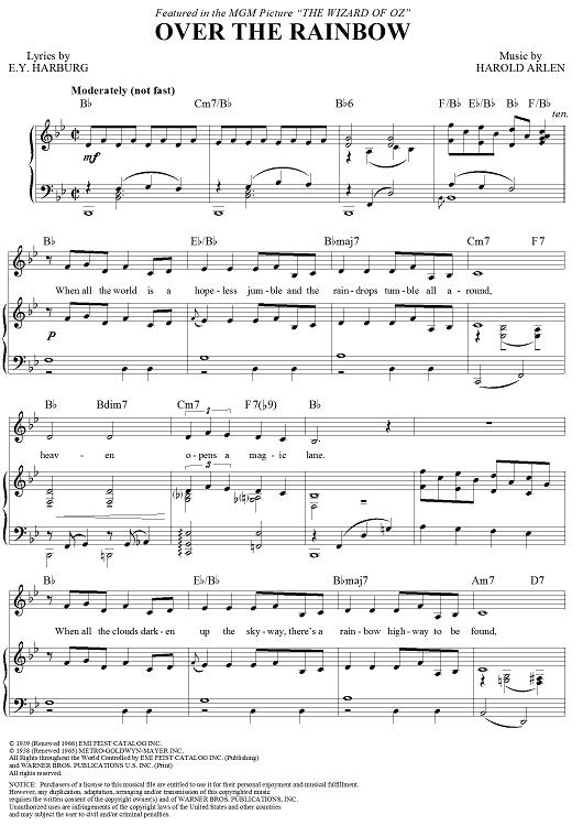 Over The Rainbow Sheet Music By Judy Garland Sheet Music Rainbows
