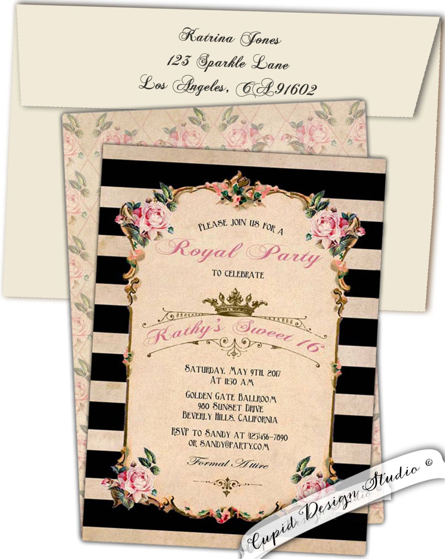 Tea party birthday invitation/custom birthday invitations/pink/gold ...